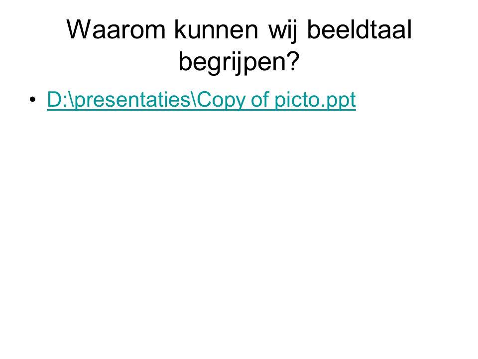 Waarom kunnen wij beeldtaal begrijpen? D:\presentaties\Copy of picto.ppt