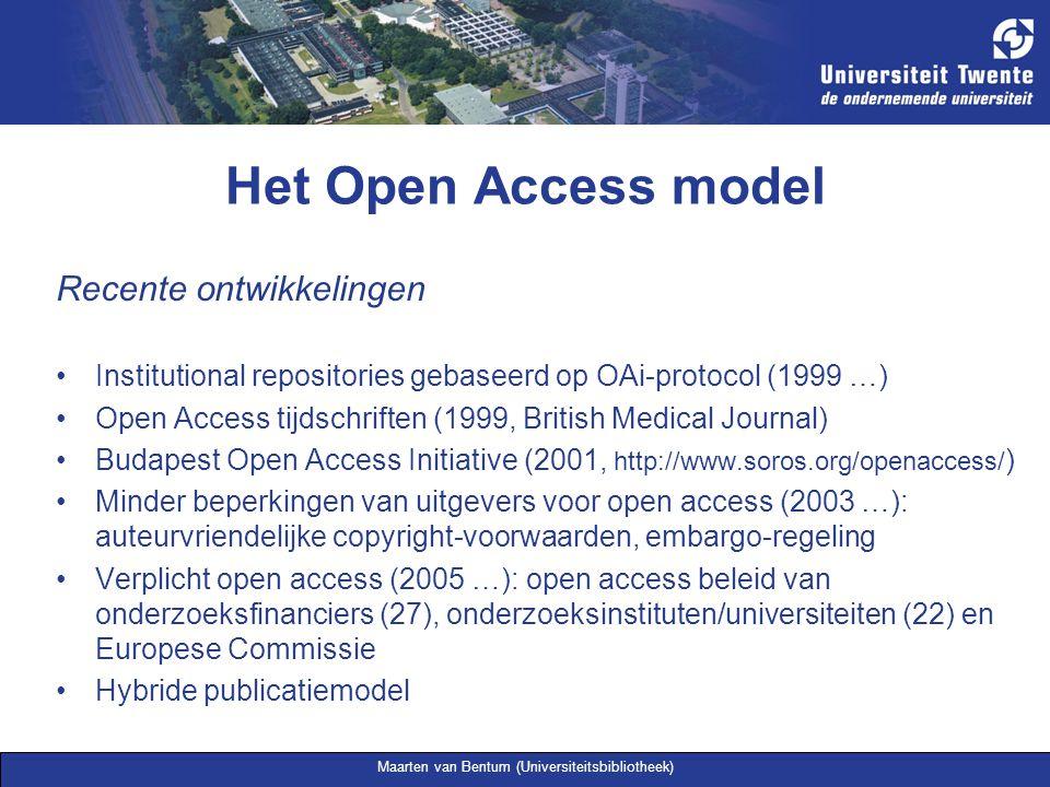 Maarten van Bentum (Universiteitsbibliotheek) Het Open Access model Recente ontwikkelingen Institutional repositories gebaseerd op OAi-protocol (1999