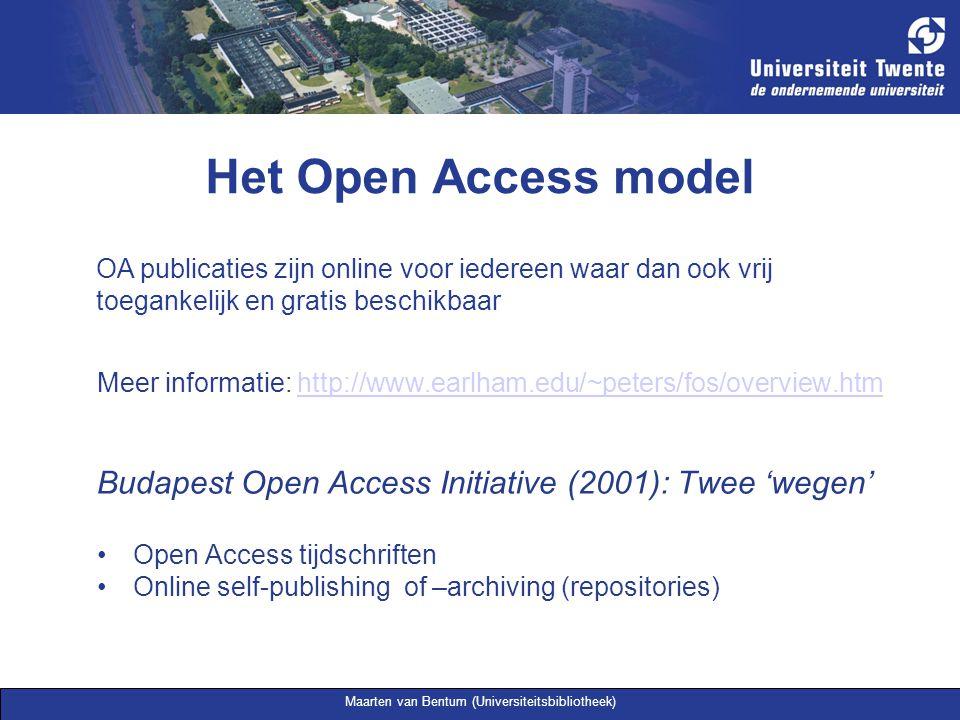Maarten van Bentum (Universiteitsbibliotheek) Het Open Access model OA tijdschriften Gratis online toegang Meer dan 3600, waarvan ruim 1200 ook op artikel doorzoekbaar Supply paid i.p.v.