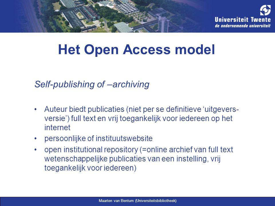 Maarten van Bentum (Universiteitsbibliotheek) Het Open Access model Voordelen Snelle publicatie van wetenschappelijke resultaten Geen overdracht van auteursrechten Meer citaties –Online self-archiving zie: Brody, T.