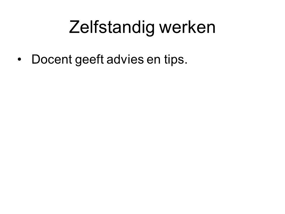 Zelfstandig werken Docent geeft advies en tips.