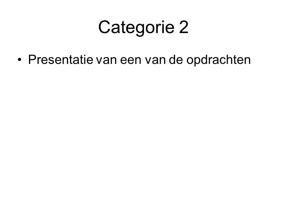 Categorie 2 Presentatie van een van de opdrachten