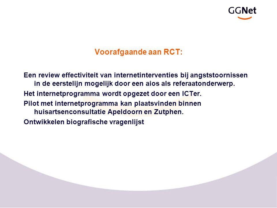 Voorafgaande aan RCT: Een review effectiviteit van internetinterventies bij angststoornissen in de eerstelijn mogelijk door een aios als referaatonderwerp.