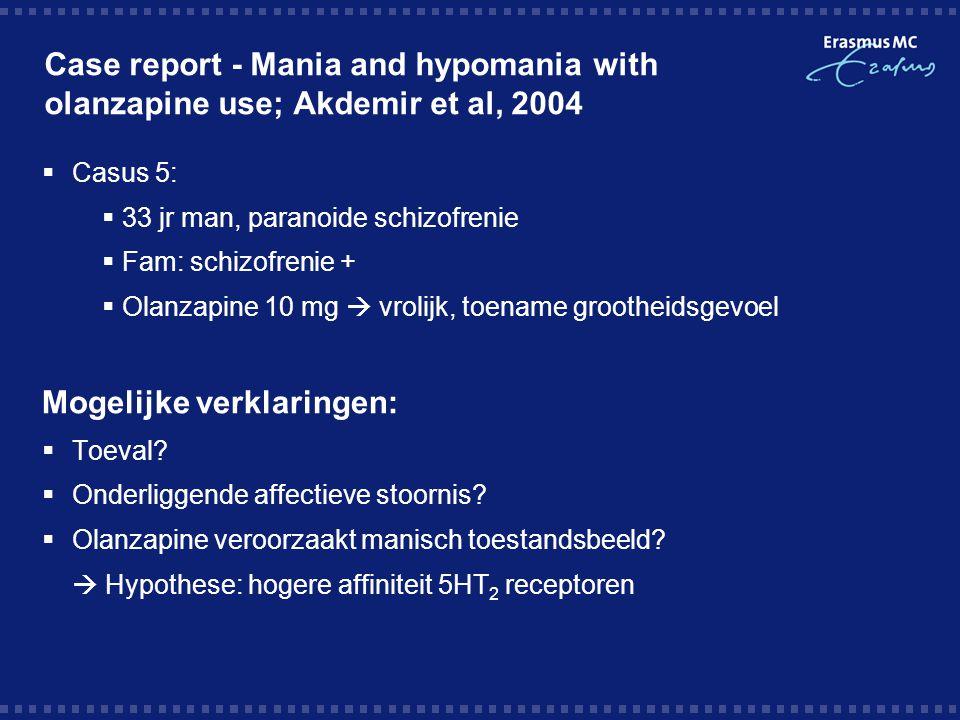 Case report - Mania and hypomania with olanzapine use; Akdemir et al, 2004  Casus 5:  33 jr man, paranoide schizofrenie  Fam: schizofrenie +  Olan
