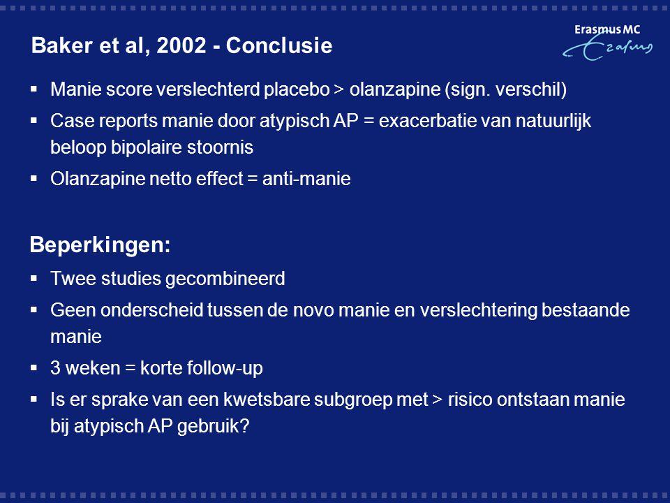 Case report - Mania and hypomania with olanzapine use; Akdemir et al, 2004  Casus 1:  33 jr vrouw, paranoide schizofrenie, VG manie -  Fam: blanco  Na 2 wk olanzapine 10 mg: manische kenmerken  Switch risperidon 6 mg  verbetering  Casus 2:  36 jr man, paranoide schizofrenie, VG manie –  Fam: schizofrenie +  Na 3 dgn olanzapine 10 mg  excessive action and talking met slaapstoornis  Ophogen olanzapine 15 mg  onveranderd beeld