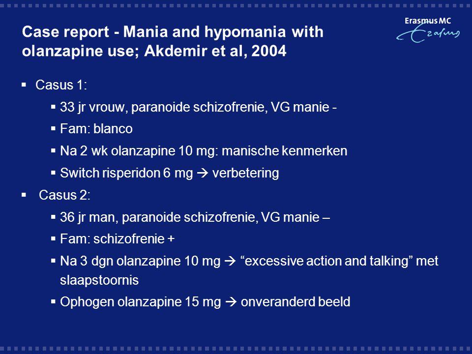 Case report - Mania and hypomania with olanzapine use; Akdemir et al, 2004  Casus 3:  18 jr man, schizofrenie  Fam: blanco  Verslechtering beeld  start olanzapine 20 mg  meer actief, spraakzaam, dysfoor, afname impulscontrole en slaapstoornis, onsamenhangend denken, bizar gedrag  Verlaging olanzapine 15 mg en start haldol 5 mg  afname  Casus 4:  24 jr man, gedesorganiseerd schizofrenie, haldol 15 mg  Fam: blanco  Acute psychose  additie olanzapine  na 3 wkn: toename eigenwaarde, spraakzaam, vrolijk (hypomanie)