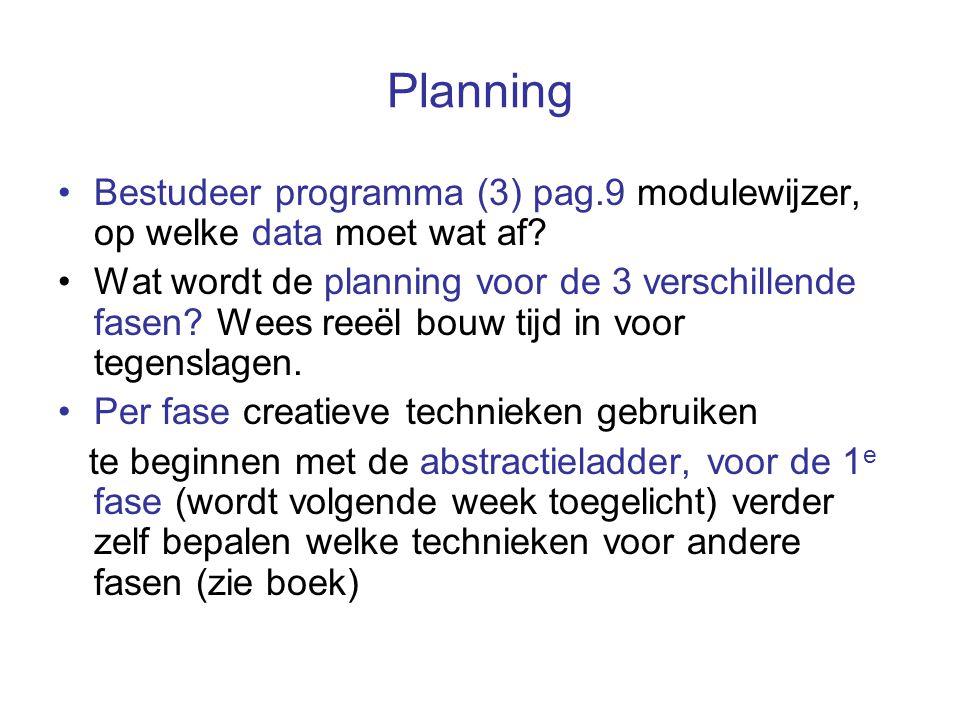 Planning Bestudeer programma (3) pag.9 modulewijzer, op welke data moet wat af? Wat wordt de planning voor de 3 verschillende fasen? Wees reeël bouw t
