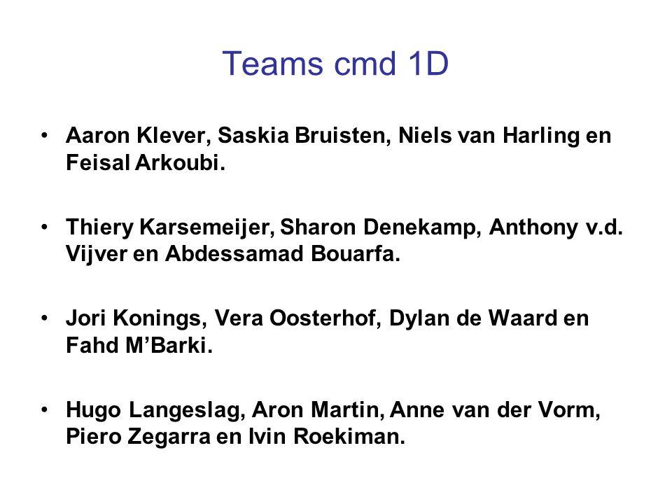 Teams cmd 1D Aaron Klever, Saskia Bruisten, Niels van Harling en Feisal Arkoubi. Thiery Karsemeijer, Sharon Denekamp, Anthony v.d. Vijver en Abdessama