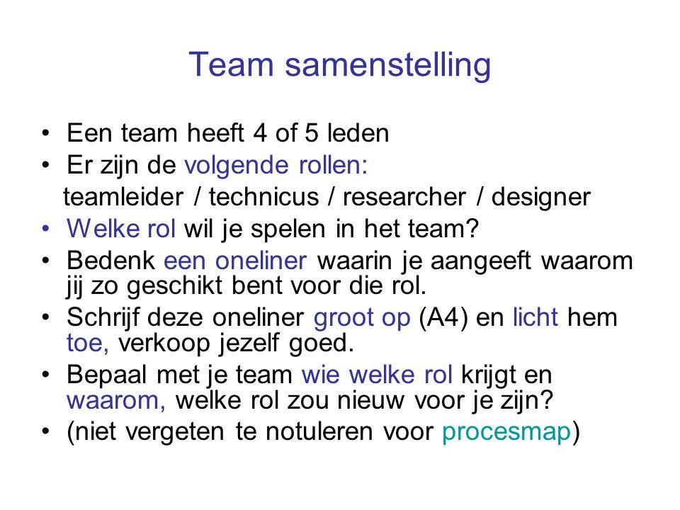Team samenstelling Een team heeft 4 of 5 leden Er zijn de volgende rollen: teamleider / technicus / researcher / designer Welke rol wil je spelen in h