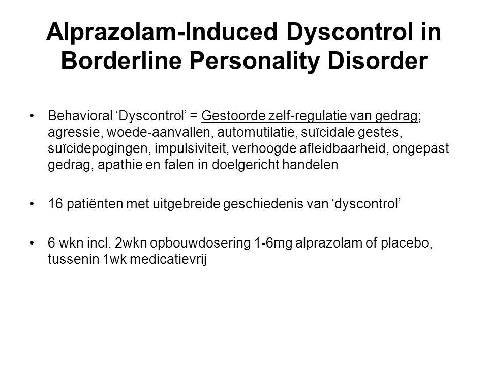 Alprazolam-Induced Dyscontrol in Borderline Personality Disorder Behavioral 'Dyscontrol' = Gestoorde zelf-regulatie van gedrag; agressie, woede-aanval