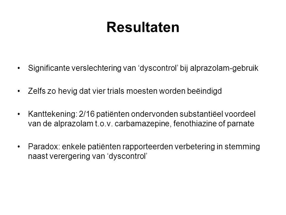 Resultaten Significante verslechtering van 'dyscontrol' bij alprazolam-gebruik Zelfs zo hevig dat vier trials moesten worden beëindigd Kanttekening: 2/16 patiënten ondervonden substantiëel voordeel van de alprazolam t.o.v.