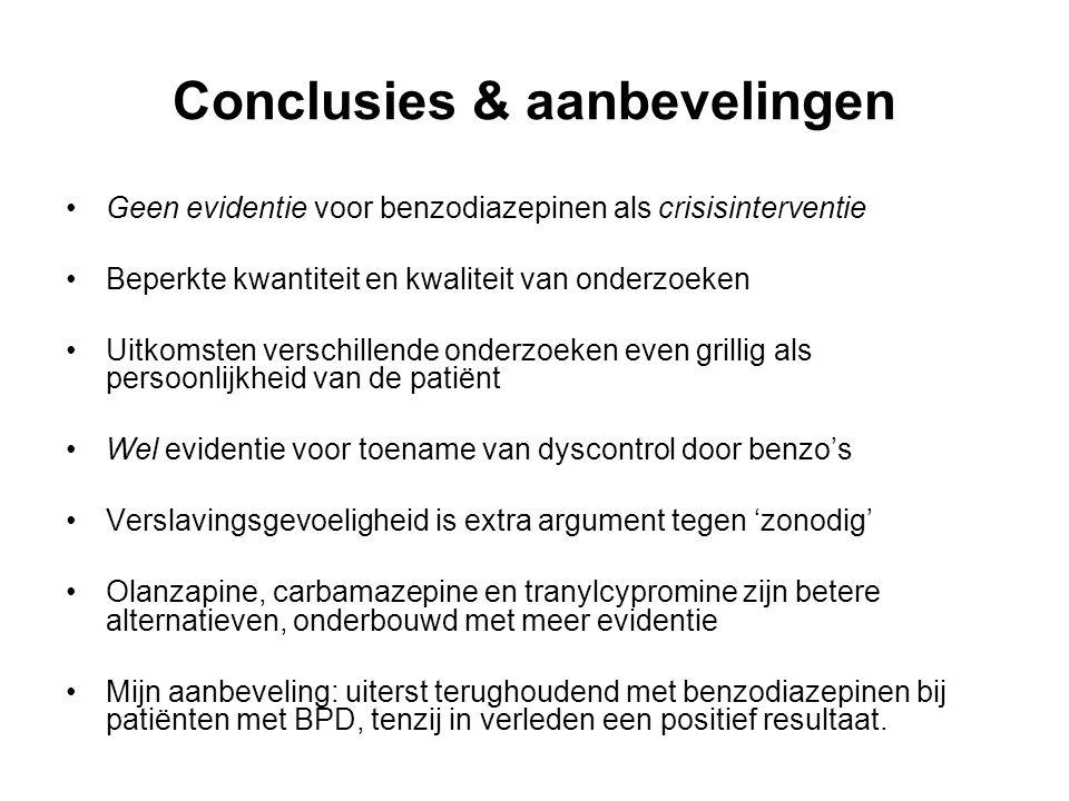 Conclusies & aanbevelingen Geen evidentie voor benzodiazepinen als crisisinterventie Beperkte kwantiteit en kwaliteit van onderzoeken Uitkomsten versc