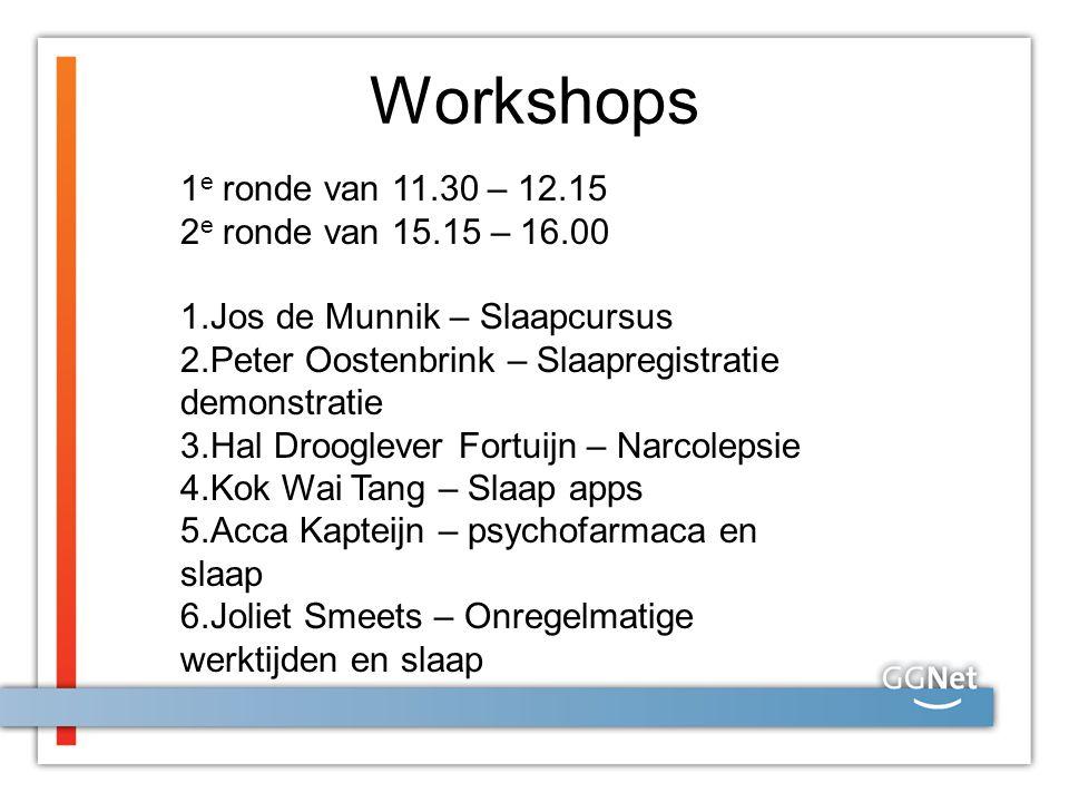 Workshops 1 e ronde van 11.30 – 12.15 2 e ronde van 15.15 – 16.00 1.Jos de Munnik – Slaapcursus 2.Peter Oostenbrink – Slaapregistratie demonstratie 3.