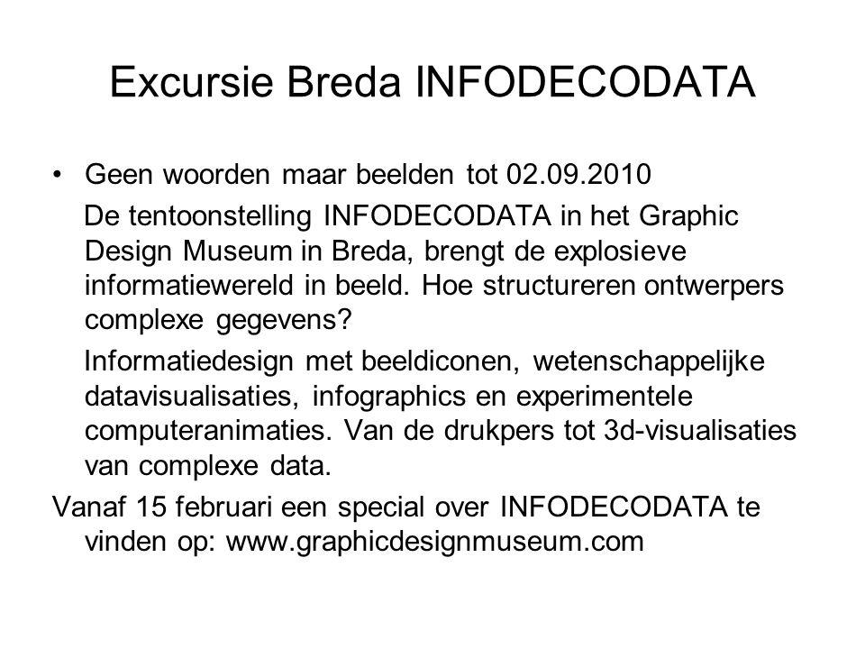 Excursie Breda INFODECODATA Geen woorden maar beelden tot 02.09.2010 De tentoonstelling INFODECODATA in het Graphic Design Museum in Breda, brengt de explosieve informatiewereld in beeld.