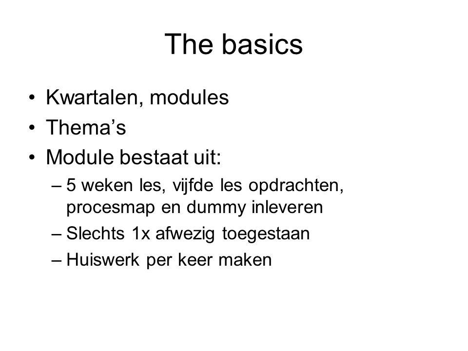 The basics Kwartalen, modules Thema's Module bestaat uit: –5 weken les, vijfde les opdrachten, procesmap en dummy inleveren –Slechts 1x afwezig toeges