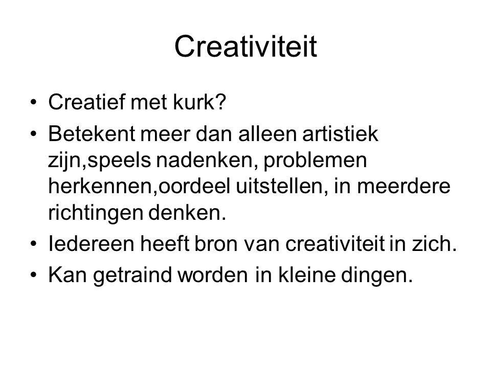 Creativiteit Creatief met kurk? Betekent meer dan alleen artistiek zijn,speels nadenken, problemen herkennen,oordeel uitstellen, in meerdere richtinge