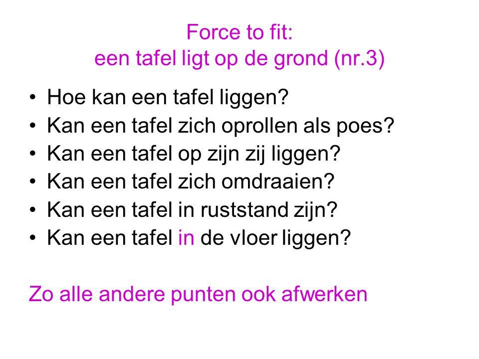 Force to fit: een tafel ligt op de grond (nr.3) Hoe kan een tafel liggen? Kan een tafel zich oprollen als poes? Kan een tafel op zijn zij liggen? Kan