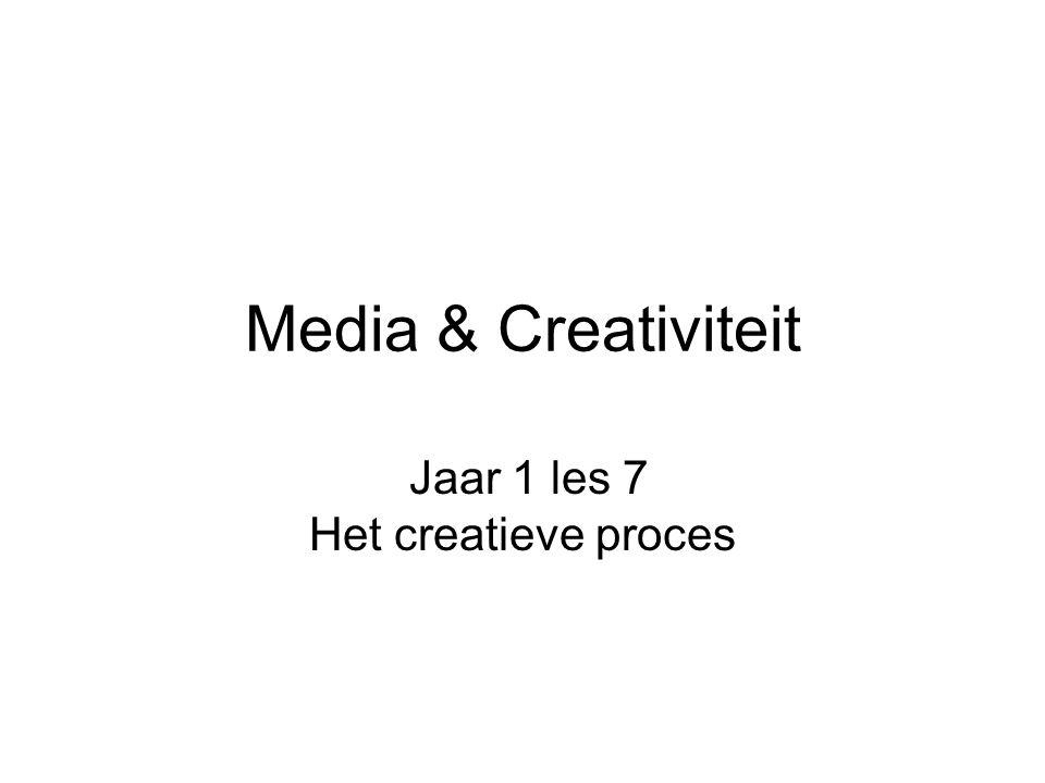Media & Creativiteit Jaar 1 les 7 Het creatieve proces