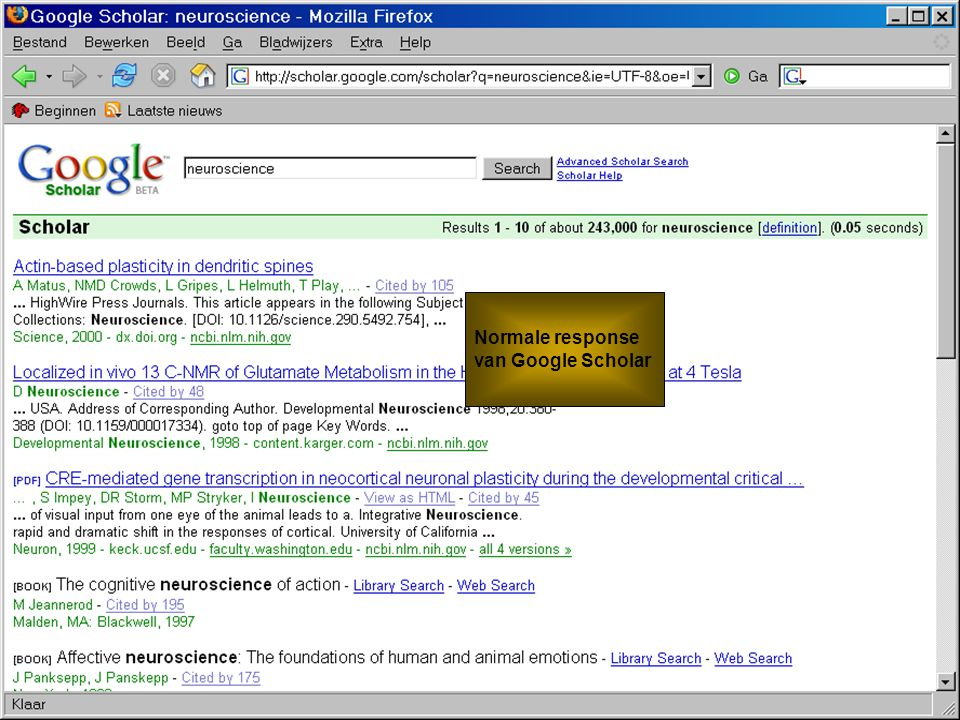 Koninklijke Bibliotheek – National Library of the Netherlands De KB en Web 2.0 Normale response van Google Scholar