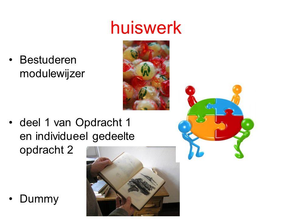 huiswerk Bestuderen modulewijzer deel 1 van Opdracht 1 en individueel gedeelte opdracht 2 Dummy