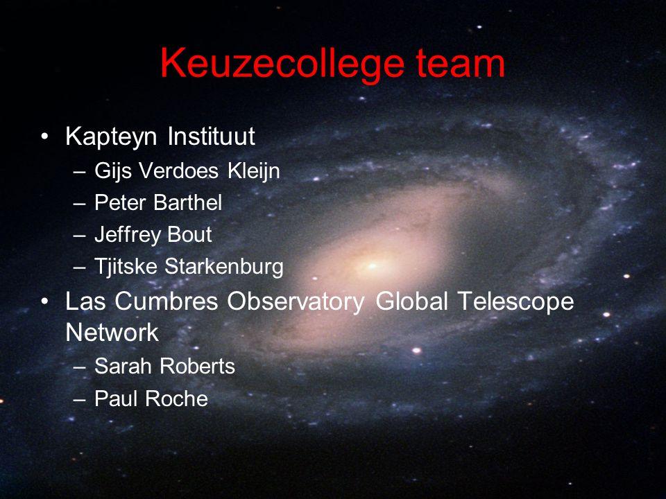 Keuzecollege team Kapteyn Instituut –Gijs Verdoes Kleijn –Peter Barthel –Jeffrey Bout –Tjitske Starkenburg Las Cumbres Observatory Global Telescope Ne