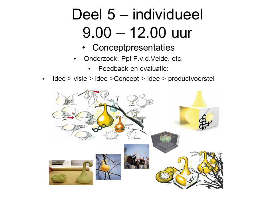 Deel 5 – individueel 9.00 – 12.00 uur Conceptpresentaties Onderzoek: Ppt F.v.d.Velde, etc.