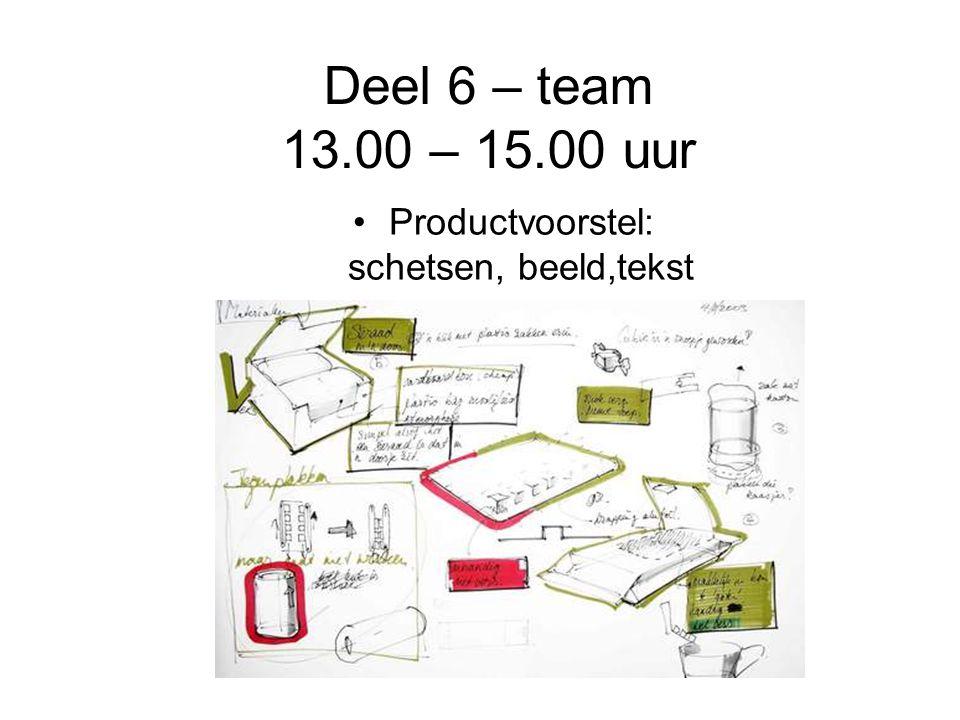 Deel 6 – team 13.00 – 15.00 uur Productvoorstel: schetsen, beeld,tekst