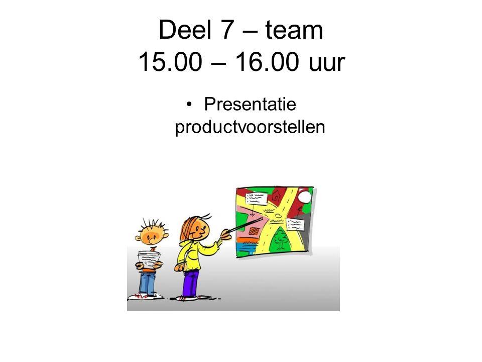 Deel 7 – team 15.00 – 16.00 uur Presentatie productvoorstellen