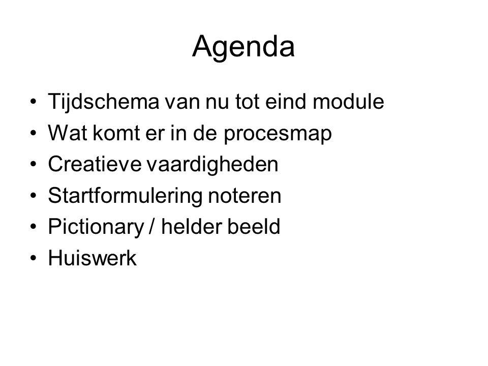 Agenda Tijdschema van nu tot eind module Wat komt er in de procesmap Creatieve vaardigheden Startformulering noteren Pictionary / helder beeld Huiswerk
