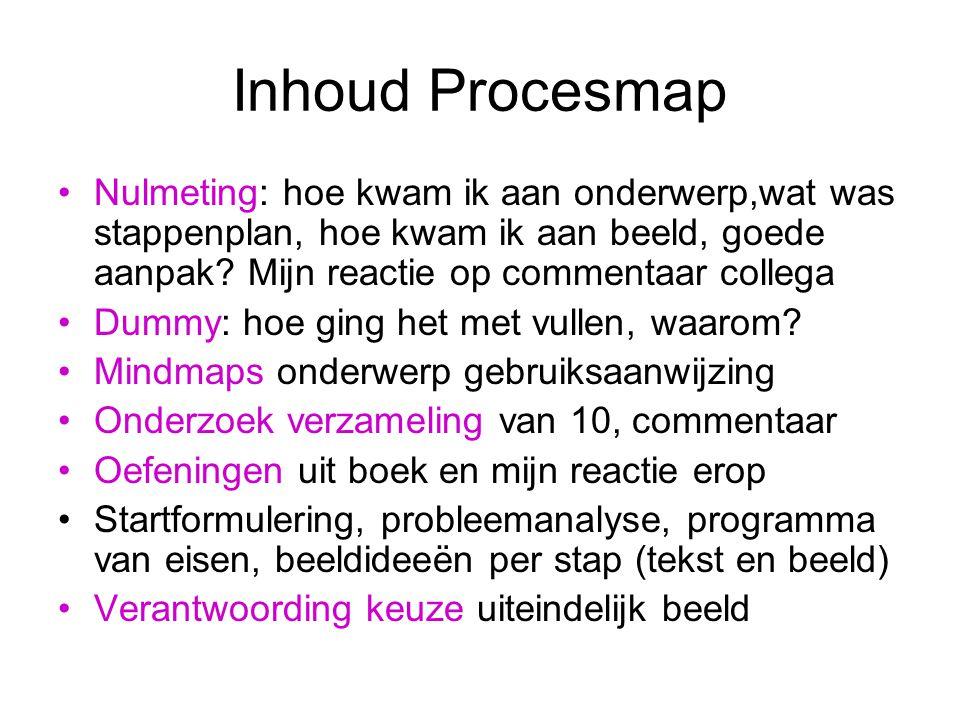 Inhoud Procesmap Nulmeting: hoe kwam ik aan onderwerp,wat was stappenplan, hoe kwam ik aan beeld, goede aanpak.