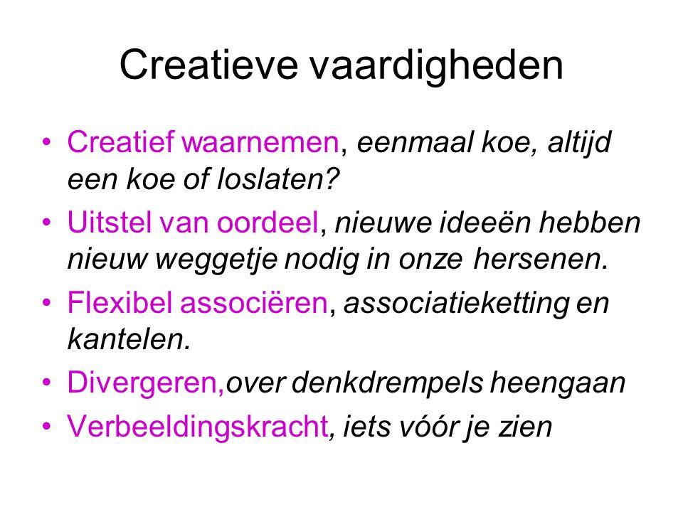 Creatieve vaardigheden Creatief waarnemen, eenmaal koe, altijd een koe of loslaten.