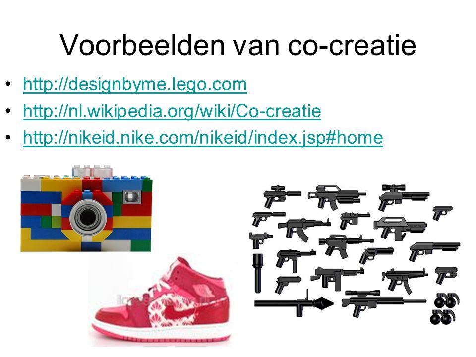 Voorbeelden van co-creatie http://designbyme.lego.com http://nl.wikipedia.org/wiki/Co-creatie http://nikeid.nike.com/nikeid/index.jsp#home