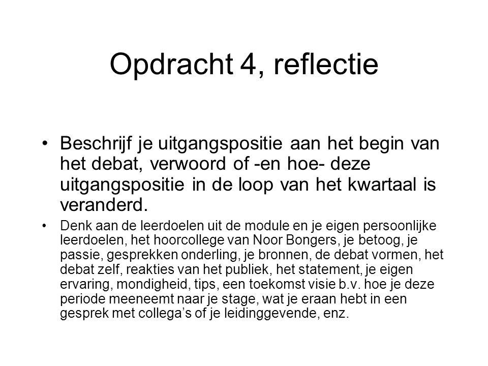 Opdracht 4, reflectie Beschrijf je uitgangspositie aan het begin van het debat, verwoord of -en hoe- deze uitgangspositie in de loop van het kwartaal