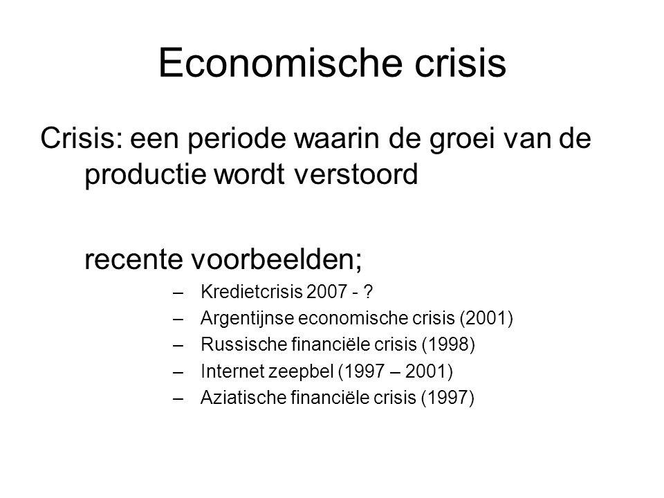 Economische crisis Crisis: een periode waarin de groei van de productie wordt verstoord recente voorbeelden; –Kredietcrisis 2007 - .