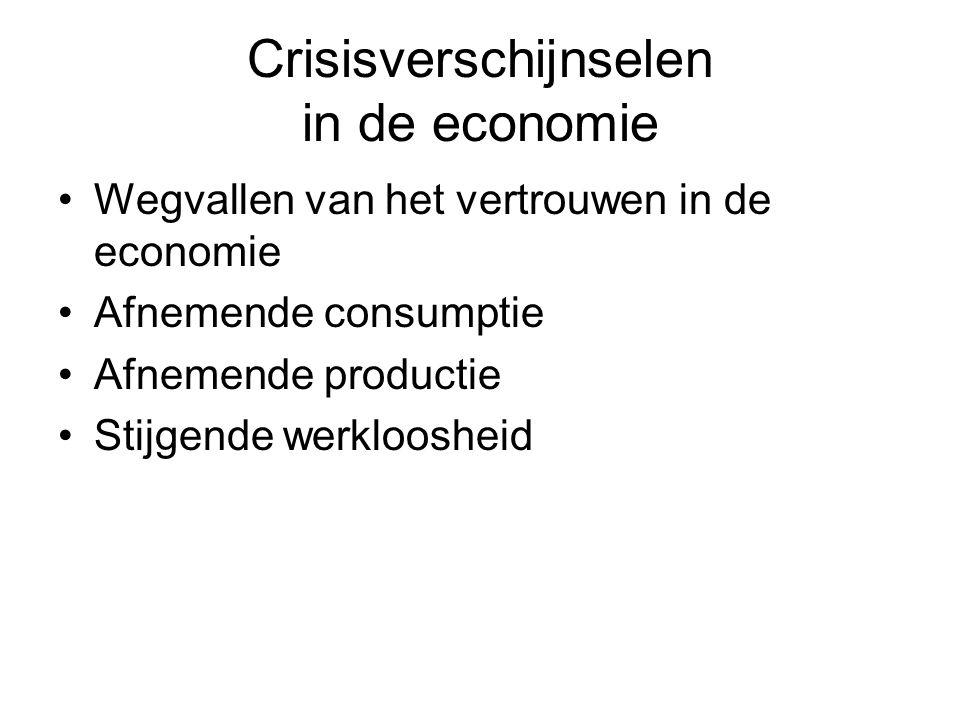 Crisisverschijnselen in de economie Wegvallen van het vertrouwen in de economie Afnemende consumptie Afnemende productie Stijgende werkloosheid