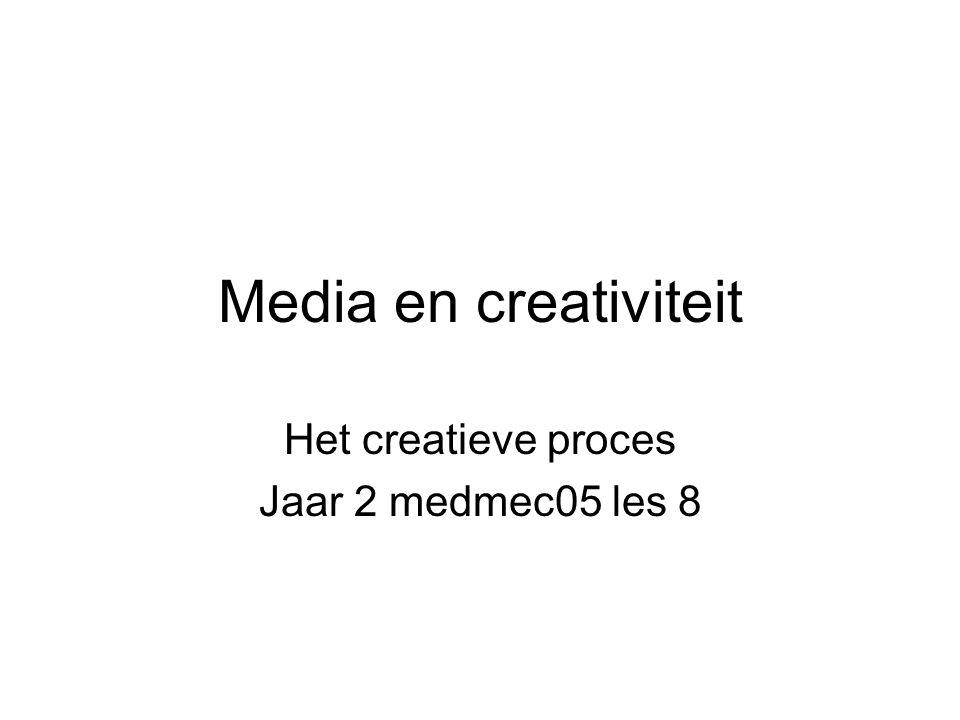 Media en creativiteit Het creatieve proces Jaar 2 medmec05 les 8