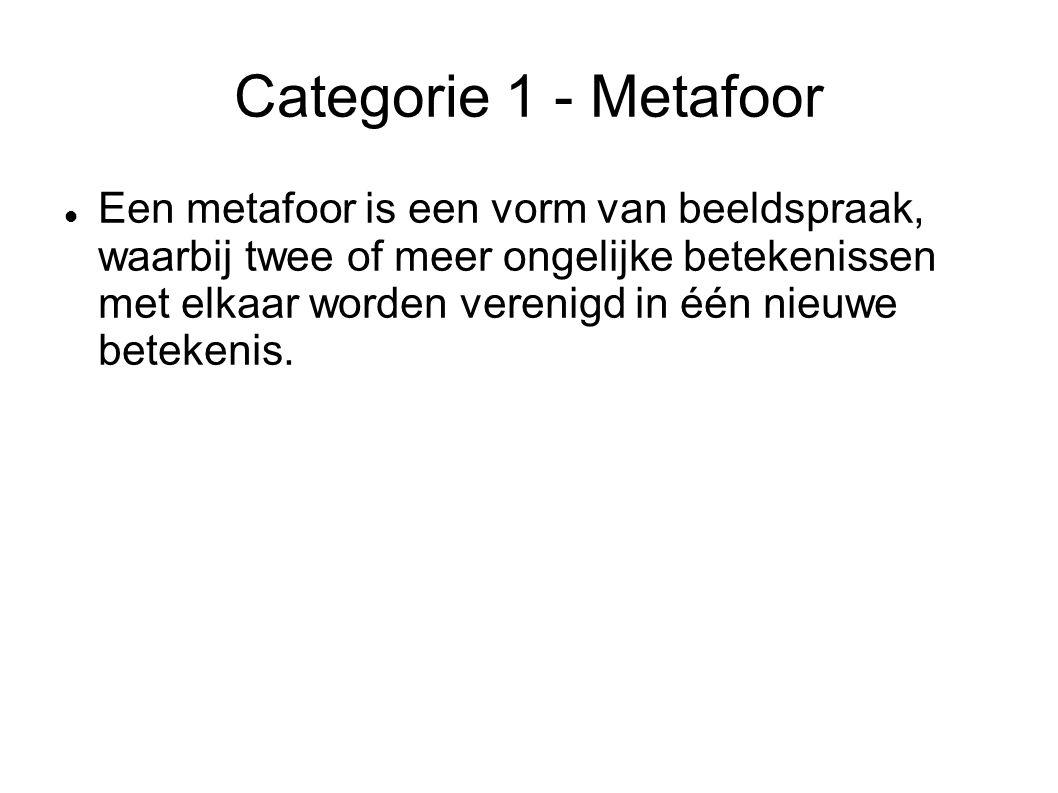 Categorie 1 - Metafoor Een metafoor is een vorm van beeldspraak, waarbij twee of meer ongelijke betekenissen met elkaar worden verenigd in één nieuwe betekenis.