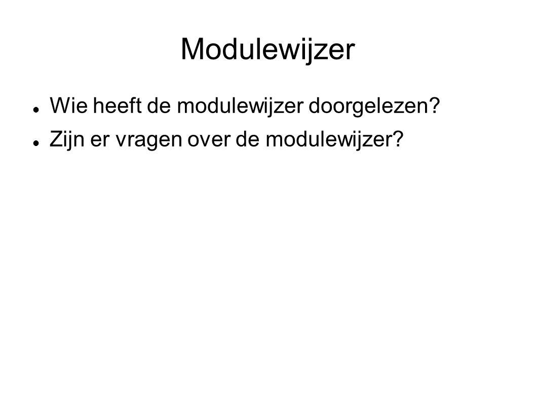 Modulewijzer Wie heeft de modulewijzer doorgelezen Zijn er vragen over de modulewijzer