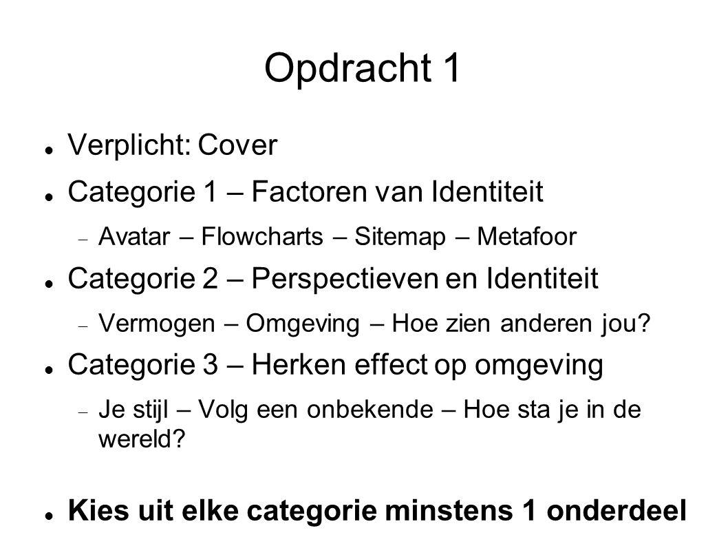 Opdracht 1 Verplicht: Cover Categorie 1 – Factoren van Identiteit  Avatar – Flowcharts – Sitemap – Metafoor Categorie 2 – Perspectieven en Identiteit  Vermogen – Omgeving – Hoe zien anderen jou.