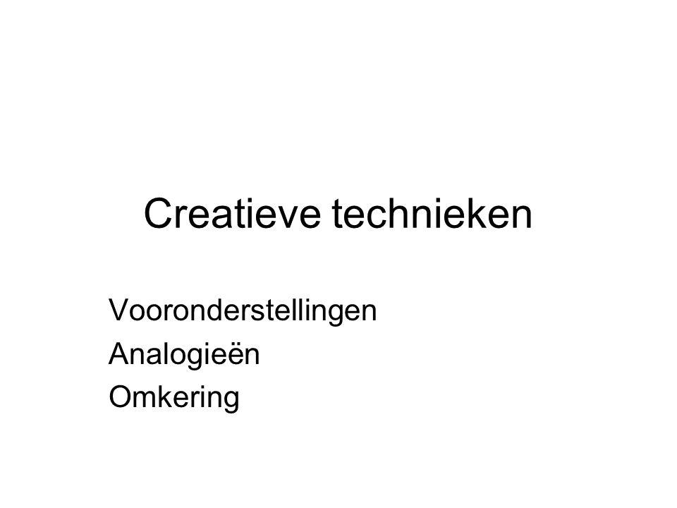 Creatieve technieken Vooronderstellingen Analogieën Omkering