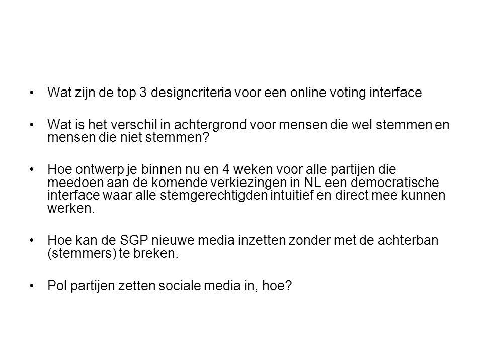 Wat zijn de top 3 designcriteria voor een online voting interface Wat is het verschil in achtergrond voor mensen die wel stemmen en mensen die niet stemmen.