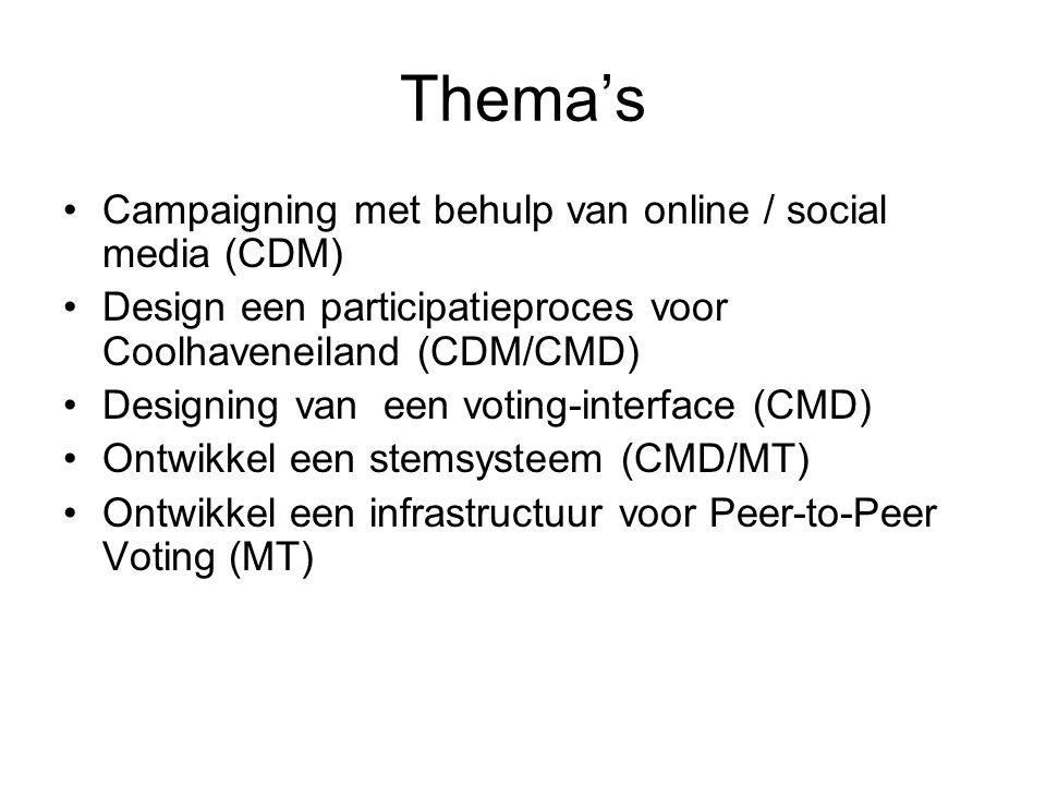 Thema's Campaigning met behulp van online / social media (CDM) Design een participatieproces voor Coolhaveneiland (CDM/CMD) Designing van een voting-interface (CMD) Ontwikkel een stemsysteem (CMD/MT) Ontwikkel een infrastructuur voor Peer-to-Peer Voting (MT)