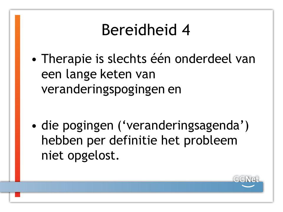 Bereidheid 4 Therapie is slechts één onderdeel van een lange keten van veranderingspogingen en die pogingen ('veranderingsagenda') hebben per definiti