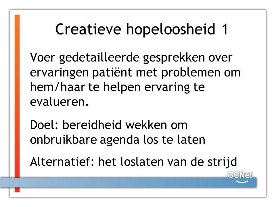 Creatieve hopeloosheid 1 Voer gedetailleerde gesprekken over ervaringen patiënt met problemen om hem/haar te helpen ervaring te evalueren. Doel: berei