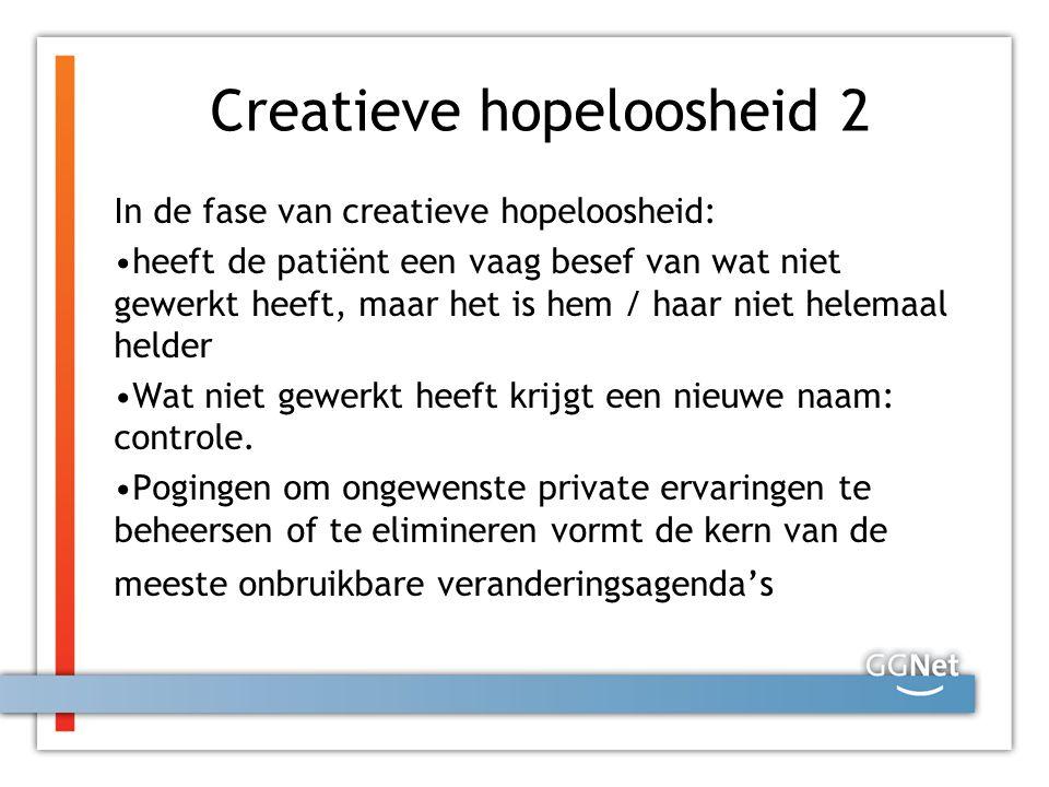 Creatieve hopeloosheid 2 In de fase van creatieve hopeloosheid: heeft de patiënt een vaag besef van wat niet gewerkt heeft, maar het is hem / haar nie