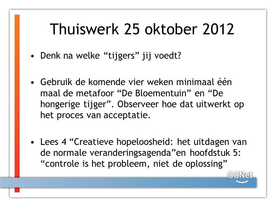 """Thuiswerk 25 oktober 2012 Denk na welke """"tijgers"""" jij voedt? Gebruik de komende vier weken minimaal één maal de metafoor """"De Bloementuin"""" en """"De honge"""