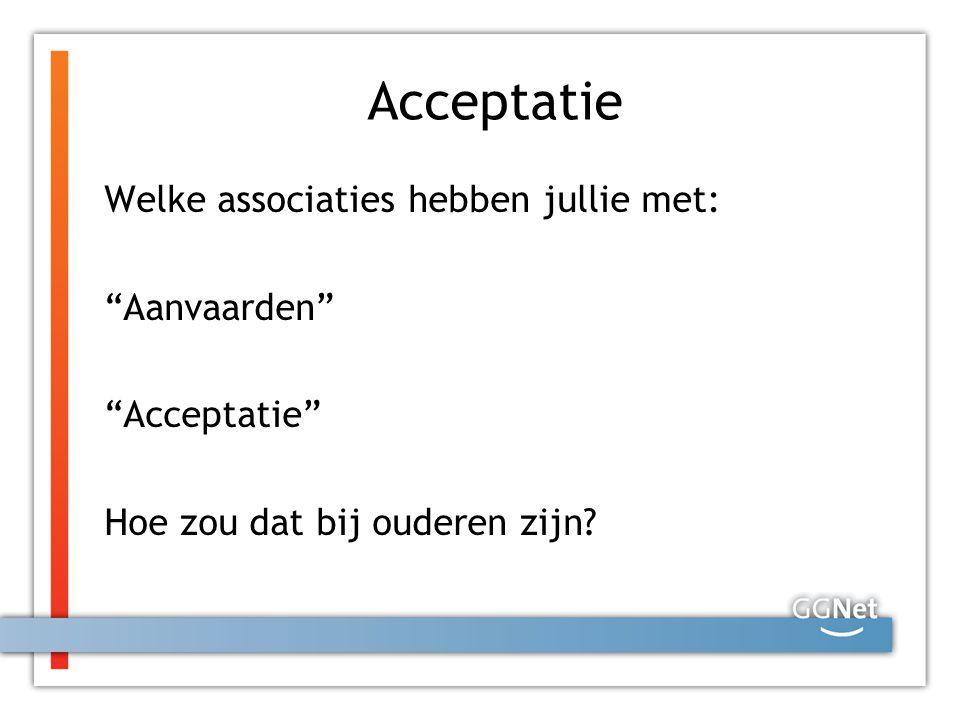 Acceptatie Accepteren komt van het Latijnse 'capere dat 'pakken' betekent Acceptatie = ontvangen of 'aanpakken wat je geboden wordt ' Accepteren kan ook betekenis hebben van verdragen of berusten ('Dat zal ik dan maar moeten accepteren') en dat wordt hier juist niet bedoeld Accepteren is dus zoiets als zonder enig voorbehoud aannemen'