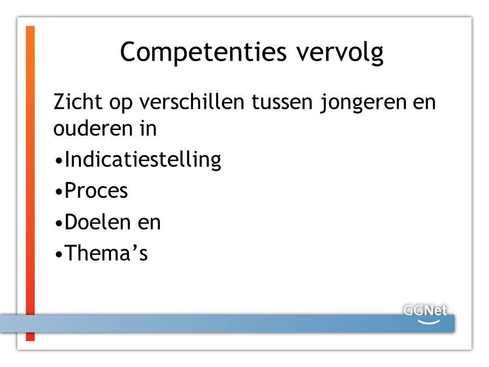 Competenties vervolg Zicht op verschillen tussen jongeren en ouderen in Indicatiestelling Proces Doelen en Thema's