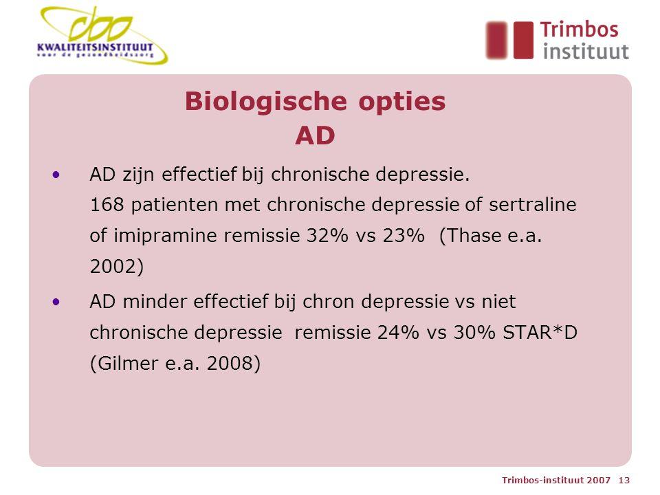 Trimbos-instituut 2007 13 Biologische opties AD AD zijn effectief bij chronische depressie.
