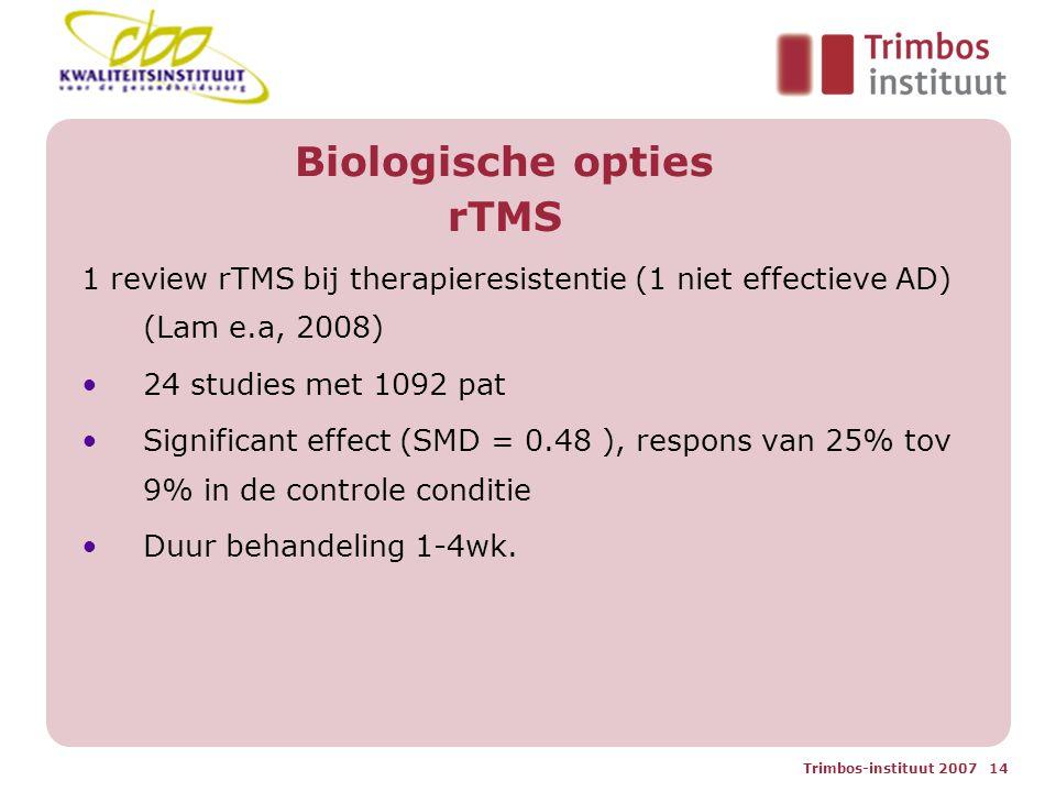 Trimbos-instituut 2007 14 Biologische opties rTMS 1 review rTMS bij therapieresistentie (1 niet effectieve AD) (Lam e.a, 2008) 24 studies met 1092 pat Significant effect (SMD = 0.48 ), respons van 25% tov 9% in de controle conditie Duur behandeling 1-4wk.